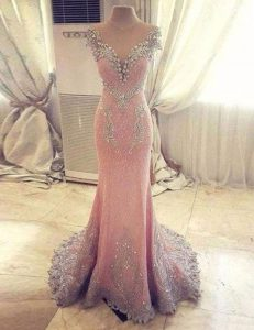 Free and Easy Mermaid Cap Sleeves With Train Clasp Handle Graduation Dresses Rose Pink for Prom with Beading and Appliques Watteau Train