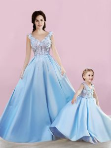 Baby Blue A-line Satin Sleeveless Appliques Floor Length Lace Up Graduation Dresses