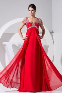 Beaded Red Chiffon Prom Dresses For Graduation in Floor-length