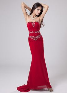 Beaded Mermaid Sweetheart University Graduation Dresses in Red