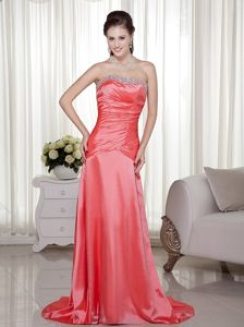 Watermelon Strapless Beaded Graduation Dresses with Brush Train