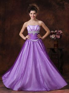 Beaded Tulle Strapless Middle School Graduation Dress in Lavender