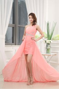 New One Shoulder High-low Watermelon Ruched Graduation Dress