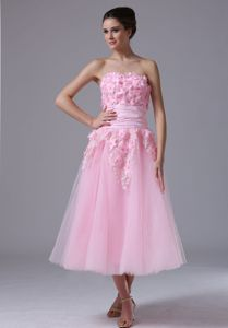 Sweetheart Pink Tea-length Graduation Dress For Girls with Flowers