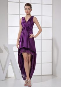 V-neck High-low Purple Lace Graduation Dress For Middle School