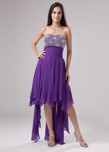 Asymmetrical Strapless Beaded Purple 5th Grade Graduation Dress