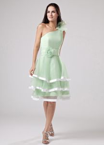 One Shoulder Apple Green Cheap Graduation Dresses with Flowers