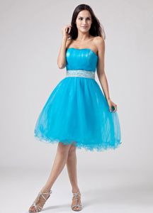 Strapless Teal Ruched Short Graduation Dresses For Girls with Sash