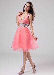 V-neck Watermelon Eighth Grade Graduation Dresses with Paillette