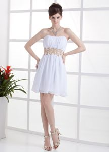 White Short Strapless Ruched Graduation Dress For Middle School
