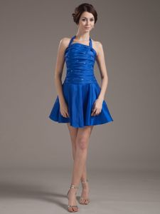 Halter Peacock Blue Beaded Short Graduation Dresses For Grade 8