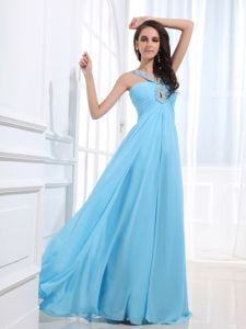 Simple V-neck Baby Blue Beaded Long Cheap Graduation Dresses