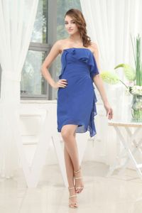 Strapless Blue Knee-length Graduation Ceremony Dress with Layers