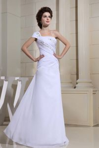 One Shoulder White Beaded Long Evening Dresses For Graduation