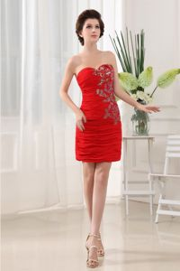 Sweetheart Red Short Graduation Dresses For Girls with Appliques