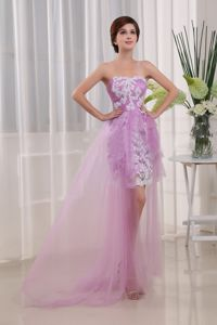 Strapless High-low Lavender Cute Graduation Dress with Appliques