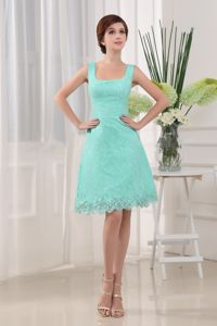 Square Apple Green Lace Short Middle School Graduation Dresses