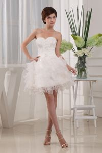 Zipper-up White Short Graduation Dress with Appliques and Ruffles