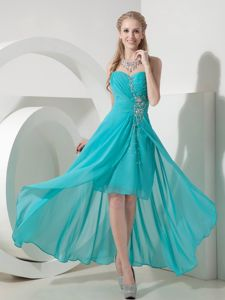Lace-up Turquoise High-low Beaded 5th Grade Graduation Dresses