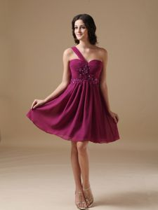 Cute One Shoulder Fuchsia Beaded Graduation Dresses For Juniors