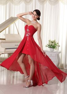 Zipper-up High-low Red Beaded Middle School Graduation Dresses