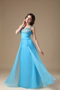 Aqua Blue Beaded Long Graduation Dress For Grade 8 with Straps