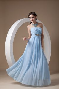 Strapless Light Blue Ruched Long High School Graduation Dresses
