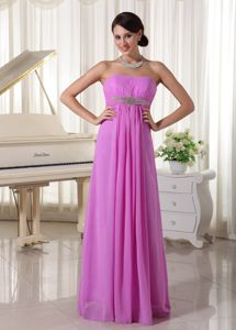 Lavender Lace-up Long Beaded Middle School Graduation Dresses