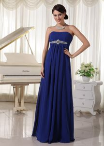Royal Blue Strapless Beaded Long Graduation Dress For 8th Grade