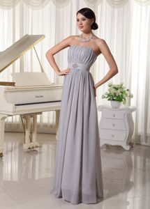 Lace-up Ruched Long Graduation Dresses For High School in Grey