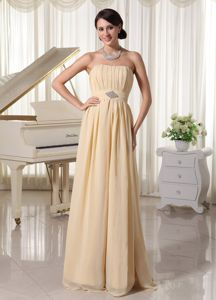 Strapless Champagne Ruched Long Graduation Ceremony Dresses