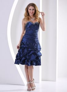 Lace-up Navy Blue Beaded Senior Graduation Dress with Pick-ups