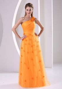 Flower Single Shoulder Orange Long 5th Grade Graduation Dresses