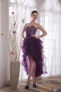 Purple Sweetheart High-low Organza Junior Grad Dress with Beading