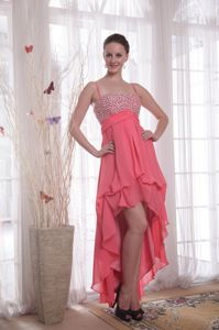 Straps High-low Chiffon Beaded Graduation Dresses in Watermelon