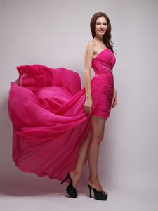One Shoulder Beaded Chiffon Hot Pink Grad Dress with Brush Train