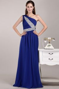 One Shoulder Floor-length Chiffon Grad Dress with Sequins in Blue