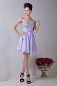 Lilac Straps Mini-length Chiffon University Grad Dress with Beading