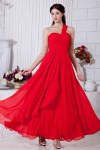One Shoulder Ruched Ankle-length Chiffon Cute Grad Dress in Red