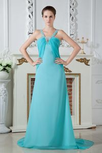 Straps Chiffon Ruched Cute Grad Dress in Turquoise with Beading