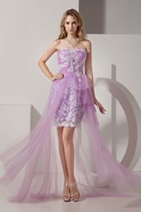 Strapless High-low Grad Dresses with White Appliques in Lavender