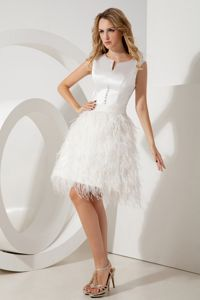 A-line Scoop White College Grad Dress with Beading in Mini-length