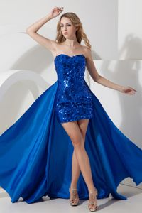 High Low Royal Blue Mini-length College Grad Dress with Sequins