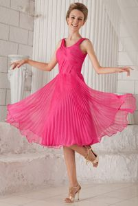 Straps Tea-length Organza Junior Grad Dress in Hot Pink with Pleats