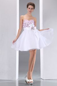 A-line Sweetheart Beaded Mini Length College Grad Dress in White