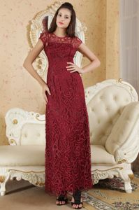 Burgundy Bateau Ankle-length University Grad Dresses with Beading