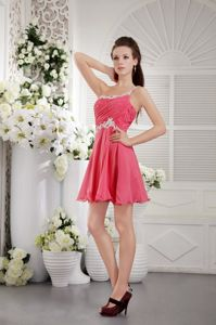 One Shoulder Short Chiffon Grad Dress Coral Red with Appliques