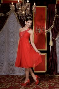 Red One Shoulder Tea-length Chiffon Cute Grad Dress with Beading
