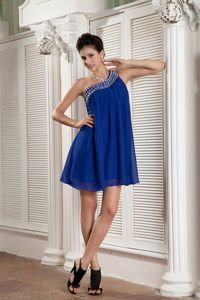 Beaded Peacock Blue One Shoulder Cute Grad Dress with Beading