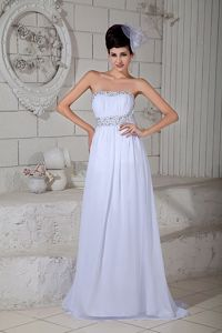 White Strapless Chiffon Beaded Cute Grad Dress with Brush Train